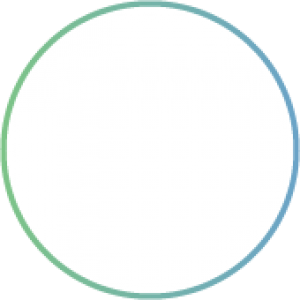 White circle with a green/blue border