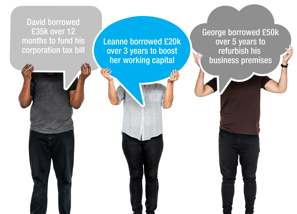 3 people holding up speech bubbles referring to examples of how Bluestar Leasing helped businesses with commercial loans
