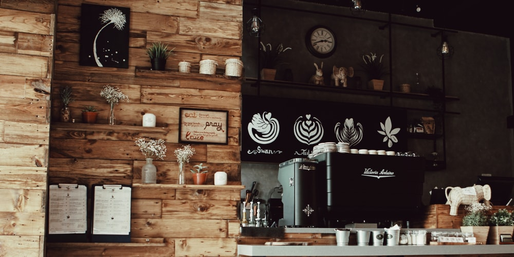 newly fitted out coffee shop featuring commercial coffee machine