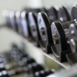 dumbbells lined up on shelf in gym