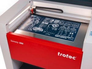 A close-up view of the Speedy 360 laser engraving machine supplied by Trotec Laser